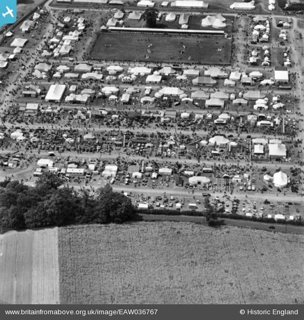Aerial shot of 1951 Suffolk Show on Rougham Estate